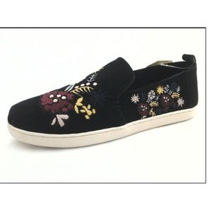 NWT TOMS Black Suede Embroidered Alpargata Flat